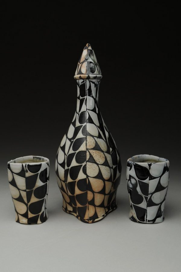 Drops of Bourbon Bottle with Cups II - Material: Wood-fired Porcelain