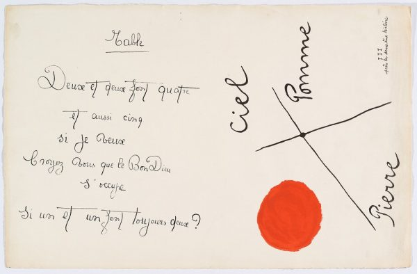 """Il était une petite pie"" (Original Drawing) - Sheet I - Drawing by Joan Miró with texts by Lise Hirtz"