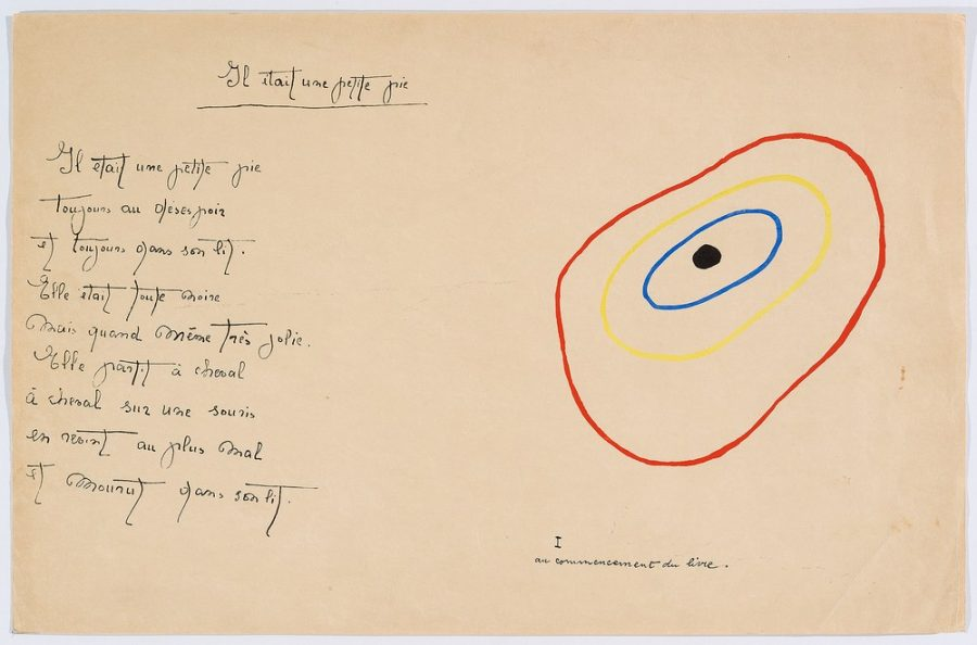 """Il était une petite pie"" (Original Drawing) - Sheet II - Drawing by Joan Miró with texts by Lise Hirtz"
