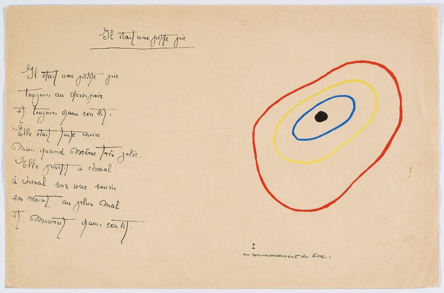 """Il était une petite pie"" (There Was a Little Magpie) - Sheet II - Drawings by Joan Miró with texts by Lise Hirtz"