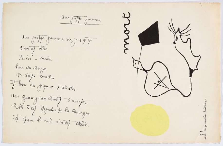 """Il était une petite pie"" (There Was a Little Magpie) - Sheet III - Drawings by Joan Miró with texts by Lise Hirtz"