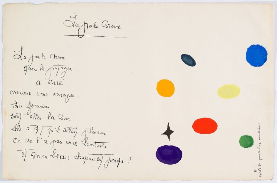 """""""Il était une petite pie"""" (Original Drawing) - Sheet IV - Drawings by Joan Miró with texts by Lise Hirtz"""