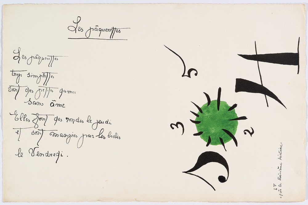 """Il était une petite pie"" (There Was a Little Magpie) - Sheet V - Drawings by Joan Miró with texts by Lise Hirtz"