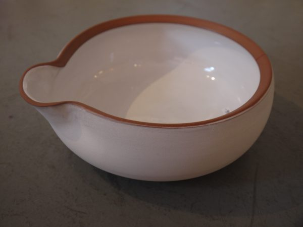 White Spouted Bowl - Terra Cotta