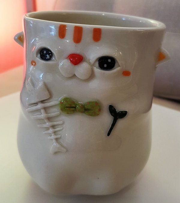 "Cup ""Cat with green Bowtie"" - Title: Cup ""Cat with green Bowtie"""