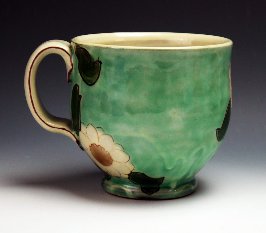 Green Floral Mug - Materials: Earthenware