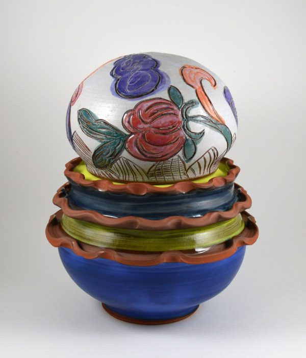 Floral Lidded Jar - Title : Floral Lidded Jar