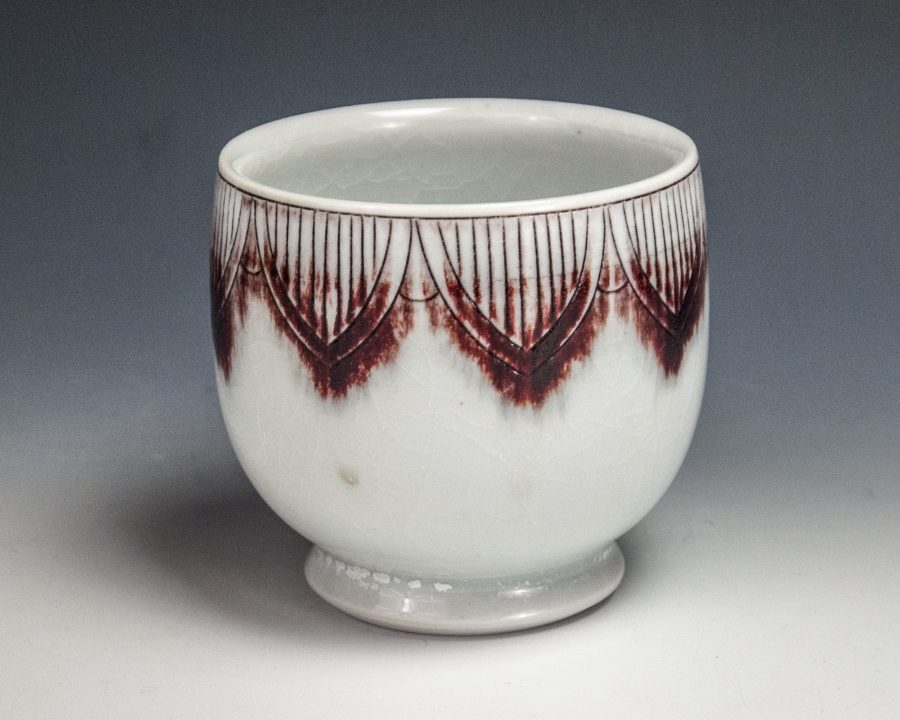 "Sgraffito Red Cup - Size: 3.5"" x 3.5"" x 3.5"" - by Steven Young Lee"