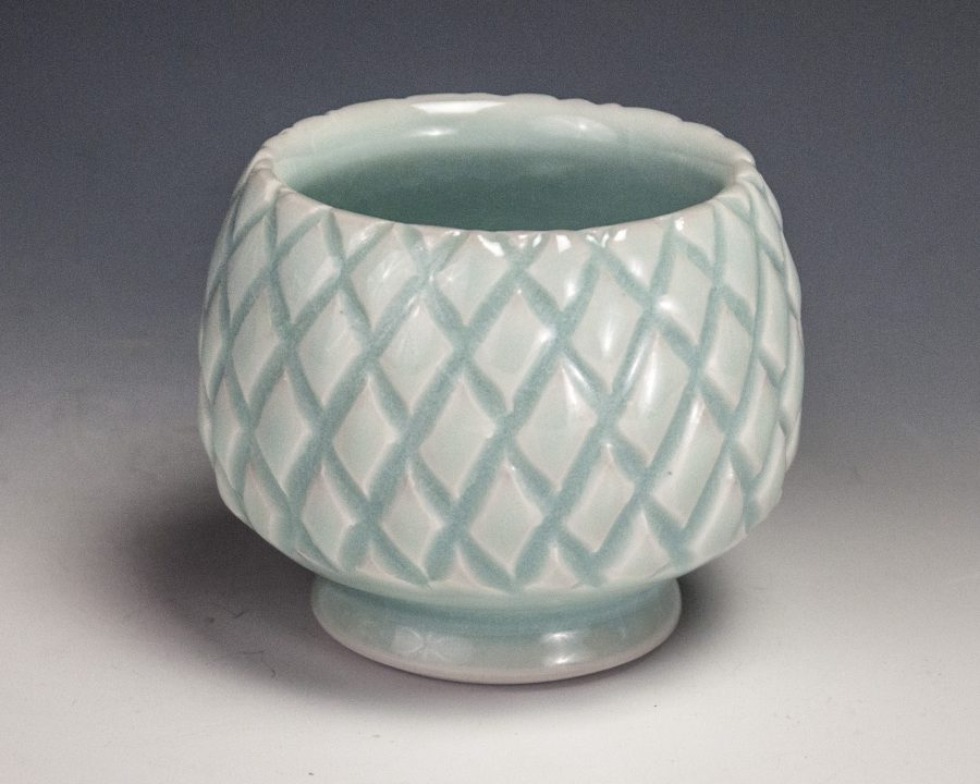 "Carved Blue Cup - Size: 2.75"" x 3.5"" x 3.5"" - by Steven Young Lee"
