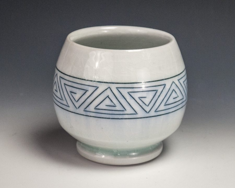 "Sgraffito Triangle Cup - Size: 3.5"" x 3.75"" x 3.75"" - by Steven Young Lee"