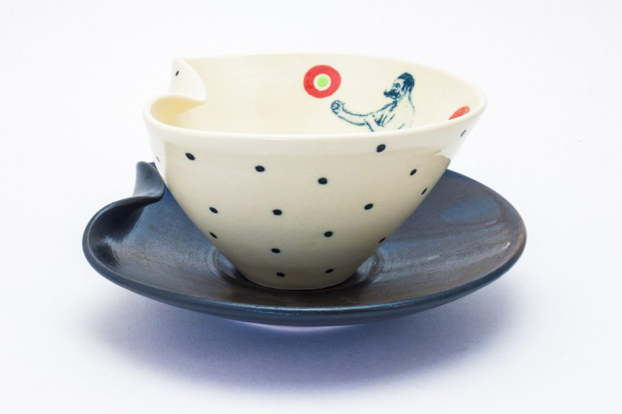 Lithograph printed soup bowl with plate - Theresa Robinson