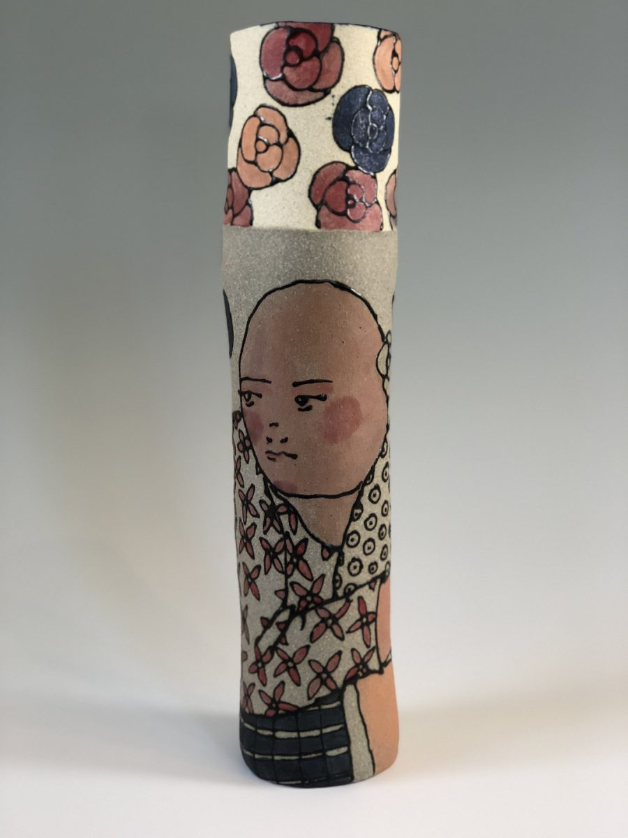 Two Figures on Cylinder - Title: Two Figures on Cylinder
