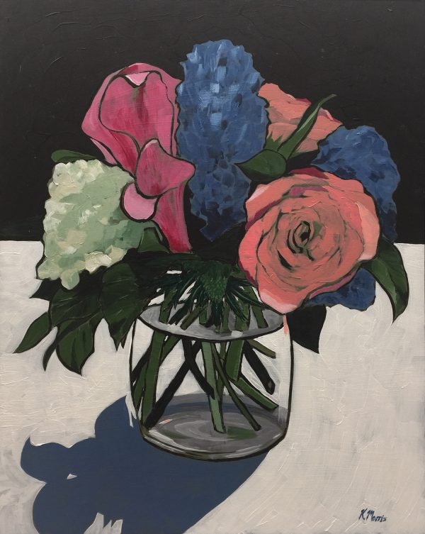 Flowers on Black - acrylic on panel