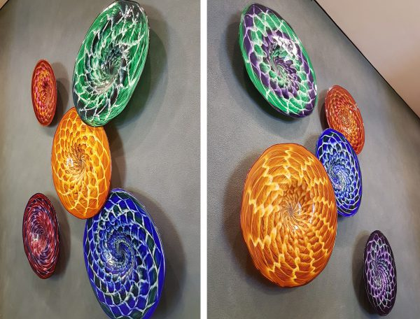 Glass Plates Convolute - Custom Wall Design featuring 10 Glass Chargers - Scott Hartley