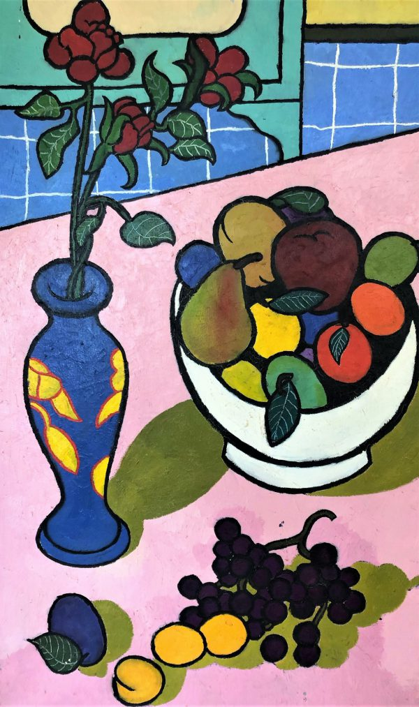 Bowl of Fruit and Vase of Flowers - Title: Bowl of Fruit and Vase of Flowers