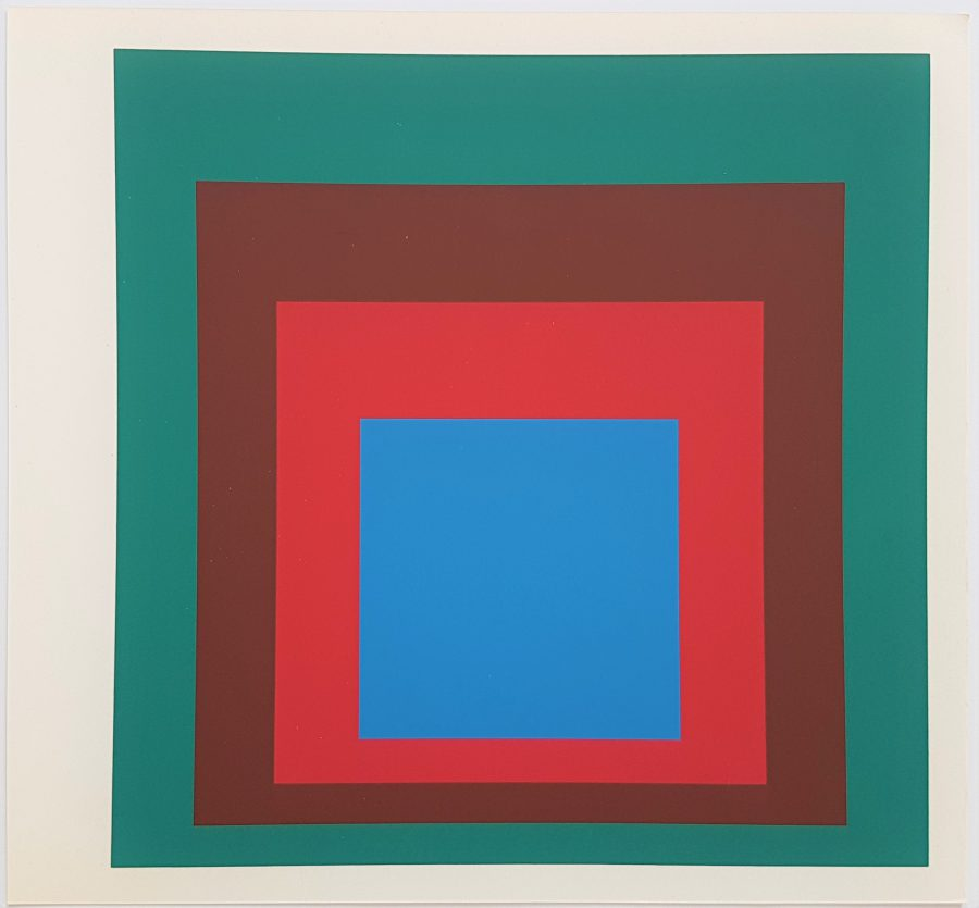 Homage to the Square: Protected Blue - Screenprint in brilliant Colors on strong wove paper double folded